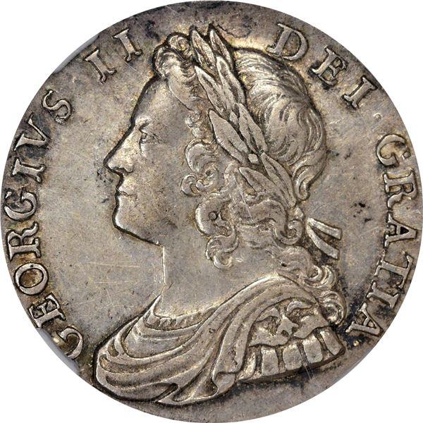 Great Britain. George II. 1736 Shilling. S-3698, ESC-1199. AU-53 NGC