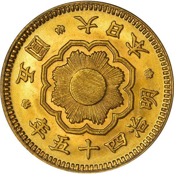 Japan. Year 45 (1912) Gold 5 Yen. Y-32. MS-64 PCGS.