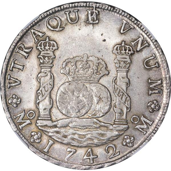 Mexico. Colonial. 1742-MO MF 8 Reales. Mexico City Mint. Philip V. KM-103. AU-58 NGC.