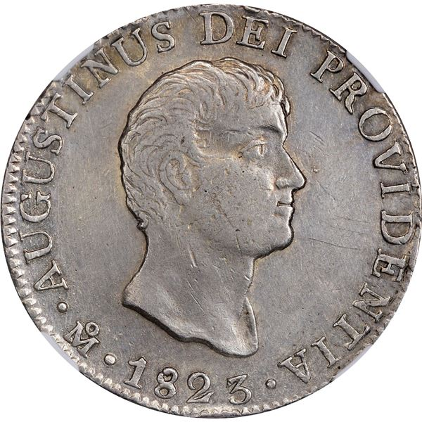 Mexico. Empire of Iturbide. 1823 MO JM 8 Reales. Mexico City Mint. 8 R J.M. Below. Short Uneven Trun