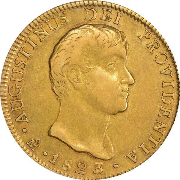 Mexico. Empire of Iturbide. 1823-JM Gold 8 Escudos. Fr-60, Calico Onza-1779, KM-314. Large Head. EF-