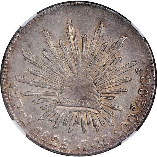 Mexico. First Republic. 1825-MO JM 8 Reales. Cap and Rays. AU-58 NGC.