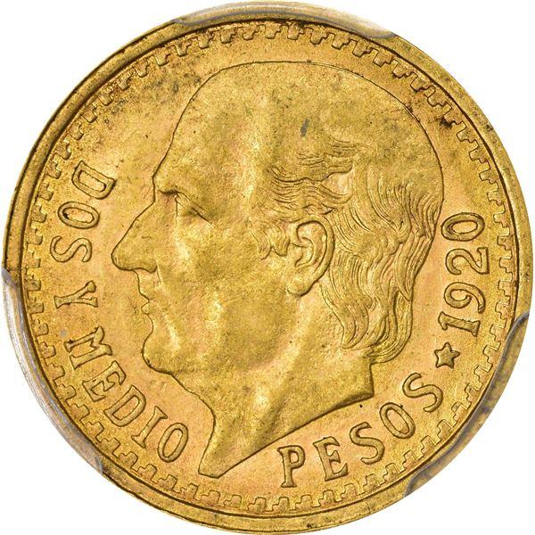 Mexico. Estados Unidos. 1920/10-MO Gold 2 ½ Pesos. Mexico City Mint. KM-463. MS-63 PCGS.