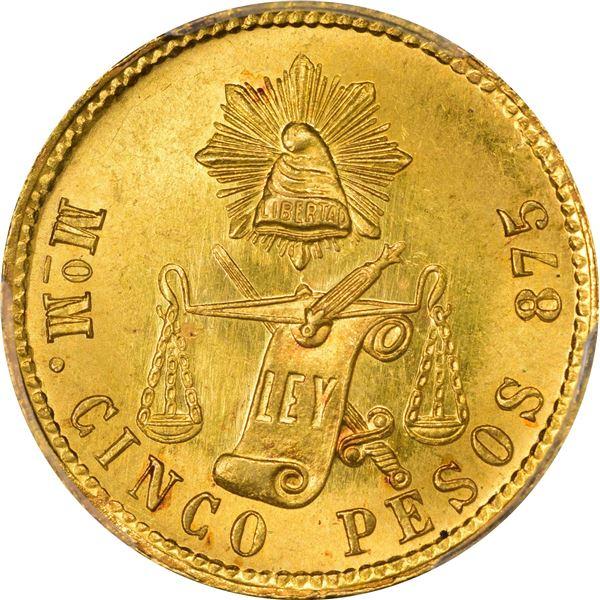 Mexico. Republic. 1904-MO M Gold 5 Pesos. Mexico City Mint. KM-412.6 MS-66 PCGS.