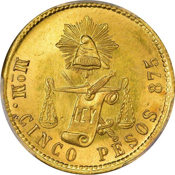 Mexico. Republic. 1904-MO M Gold 5 Pesos. Mexico City Mint. KM-412.6. MS-65 PCGS.