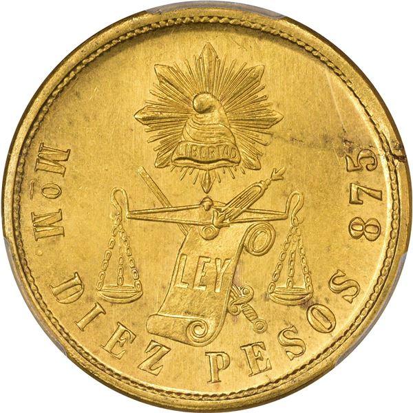 Mexico. Republic. 1902-MO M Gold 10 Pesos. Mexico City Mint. KM-413.7.MS-64 PCGS.