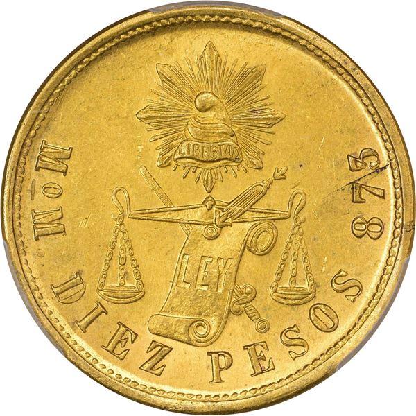 Mexico. Republic. 1903-MO M Gold 10 Pesos. Mexico City Mint. KM-413.7. MS-64 PCGS.