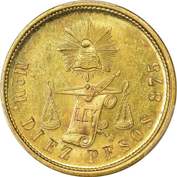 Mexico. Republic. 1904-MO M Gold 10 Pesos. Mexico City Mint. KM-413.7. MS-64+ PCGS.