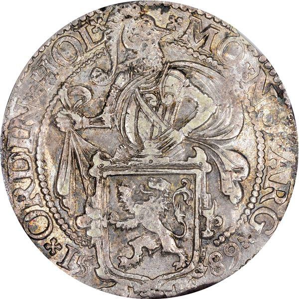 Netherlands. Holland. 1589 Leeuwen Daalder or Lion Dollar. Davenport-8838. EF-45 NGC