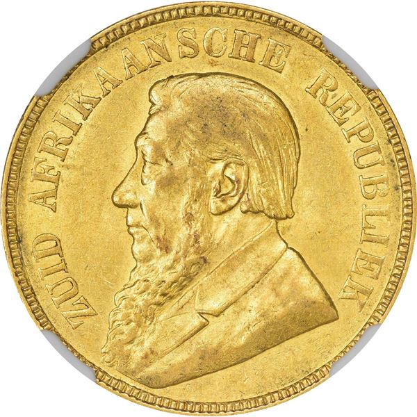 South Africa. Republic. 1900 Gold Pond. KM-10.2. AU Details – Reverse Scratched – NGC.