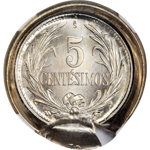 Uruguay. 1941 5 Centesimos. KM-21. Santiago, Chile Mintmark. Reverse Capped Die with Dated Tab. MS-6