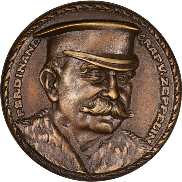 Germany. Karl Goetz. 1913 Ferdinand Graf Von Zeppelin Medal. Original. Bronze. As struck,