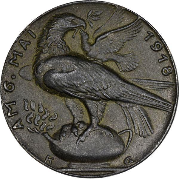 Germany. Karl Goetz. 1918 Freedom with Romania Medal. Original. Lead. Nearly as struck,