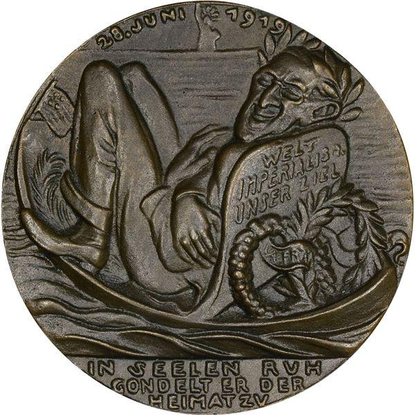 Germany. Karl Goetz. 1919 Woodrow Wilson Medal. Original. Darkened Bronze. As struck,