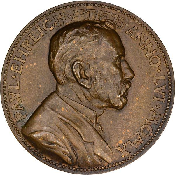 Germany. Karl Goetz. 1910 Paul Ehrlich Medal. Bronze. Choice AU.