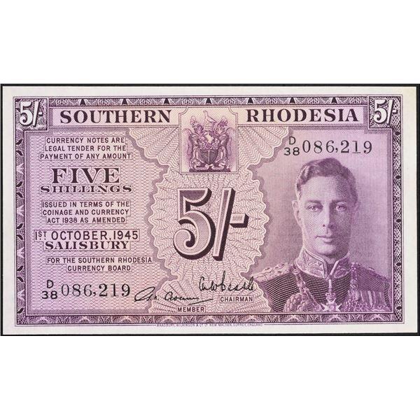 Southern Rhodesia.  Southern Rhodesia Currency Board.   5 Shillings. 1.10.1945 KGVI Pick 8b PMG Unc