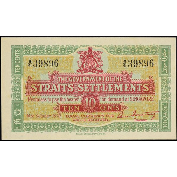 The Government of the Strait Settlements. 10 cents. 14.10.1919 series B/41 Pick 8b. PMG 64