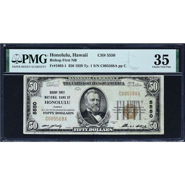 Honolulu, Hawaii  -  $50  1929 Type 1  Fr. 1803-1  Bishop First National Bank of Honolulu  Ch. # 555