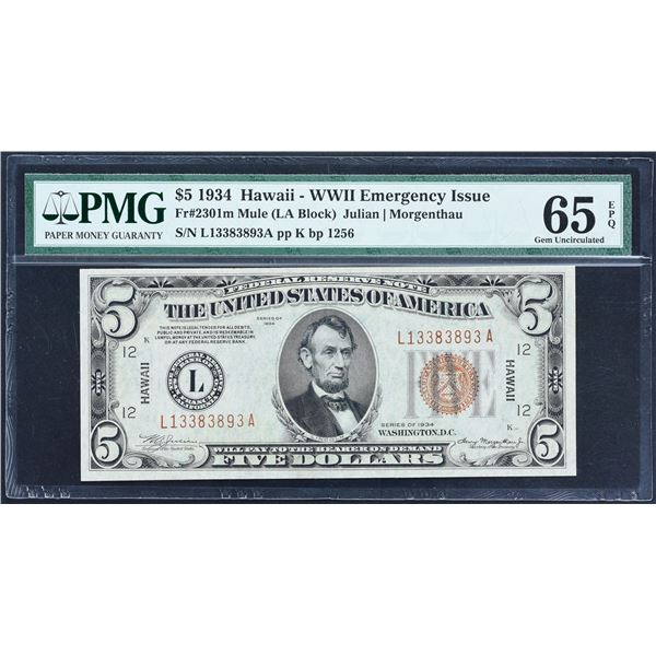 Fr. 2301m  $5  1934 Mule Hawaii Federal Reserve Note  PMG Gem Uncirculated 65 EPQ