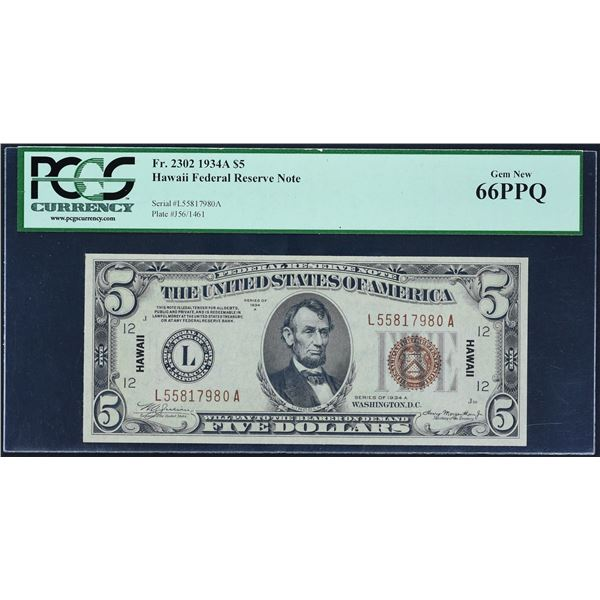 Fr. 2302  $5  1934A  Hawaii Federal Reserve Note  PCGS Gem New 66 PPQ