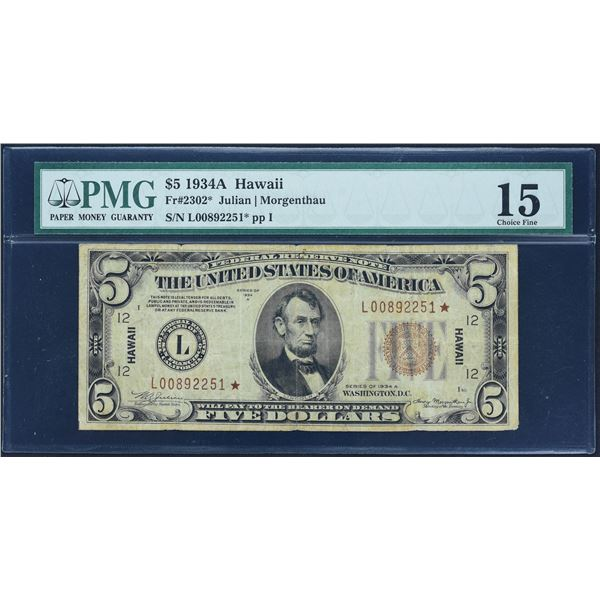 Fr. 2302*  $5  1934A  Hawaii Federal Reserve Note  PMG Choice Fine 15