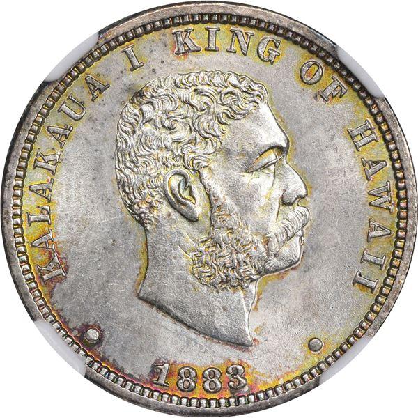 Hawaii. Kingdom. Kalakaua I. 1883 25¢. KM-5. MS-64 NGC.
