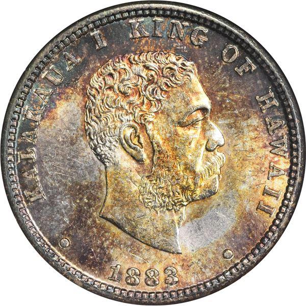 Hawaii. Kingdom. Kalakaua I. 1883 25¢. KM-5. AU-58 NGC.]