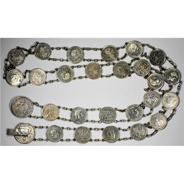 Kingdom of Hawaii. Linked Silver Coins Belt and Watch Fob.