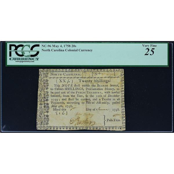 Fr. NC-96  North Carolina  May 4, 1758  20s  PCGS Very Fine 25