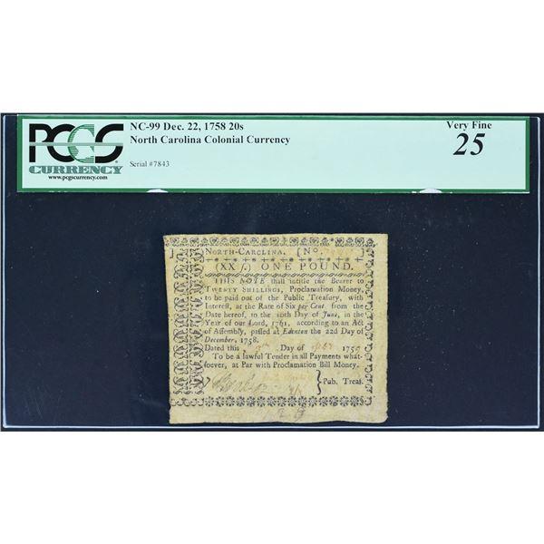 An Incredible North Carolina Rarity!  Fr. NC-99  North Carolina December 22, 1758  20s  PCGS Very Fi
