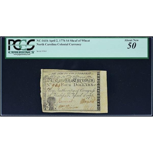 Fr. NC-161b  North Carolina  April 2, 1776  $4  Sheaf of Wheat  PCGS About New 50