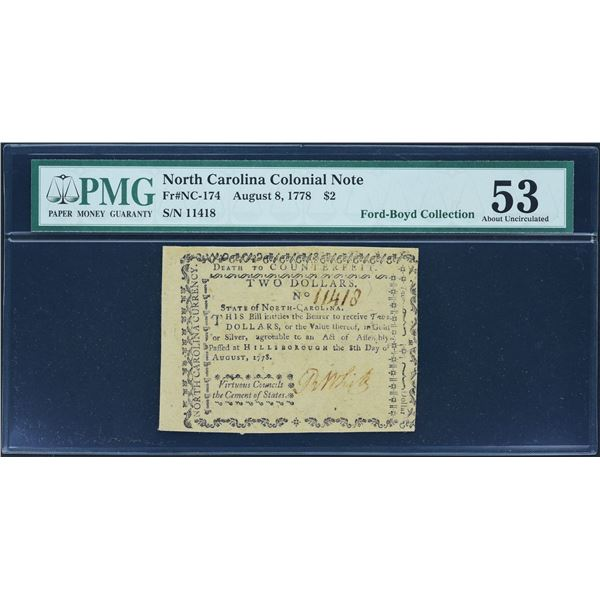Fr. NC-174  North Carolina  August 8, 1778  $2  PMG About Uncirculated 53 remainder