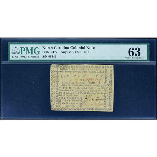 Fr. NC-177  North Carolina  August 8, 1778  $10  PMG Choice Uncirculated 63