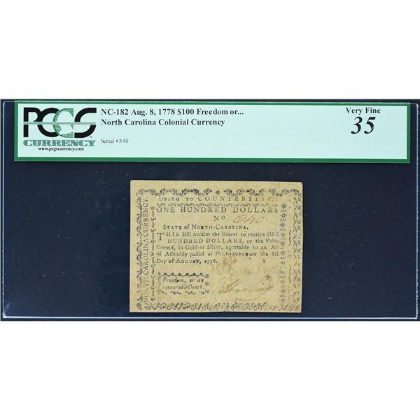 Fr. NC-182  North Carolina  August 8, 1778  $100  PCGS  Very Fine 35