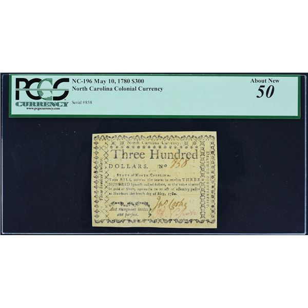 Fr. NC-196  North Carolina  May 10, 1780  $300  PCGS About Uncirculated 50