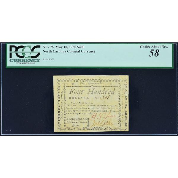 Fr. NC- 197  North Carolina  May 10, 1780  $400  PCGS Choice About New 58