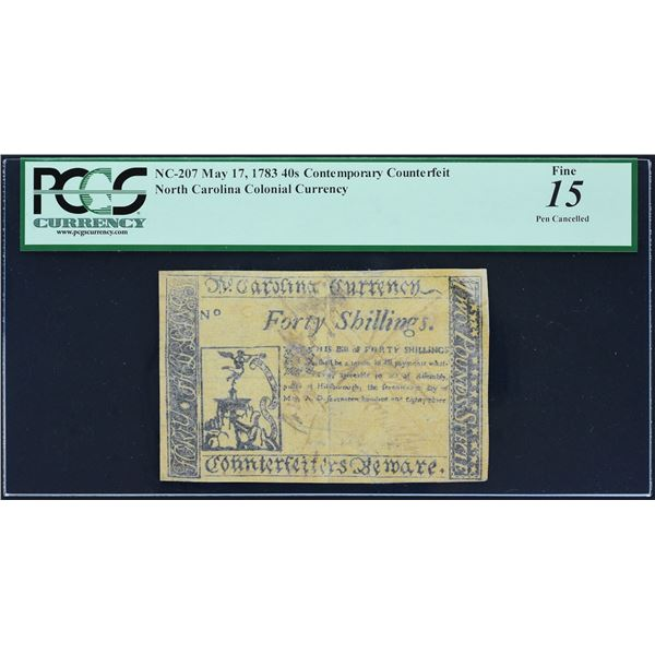 Fr. NC- 207  Contemporary Counterfeit North Carolina Colonial Currency  May 17, 1783  40 Shillings