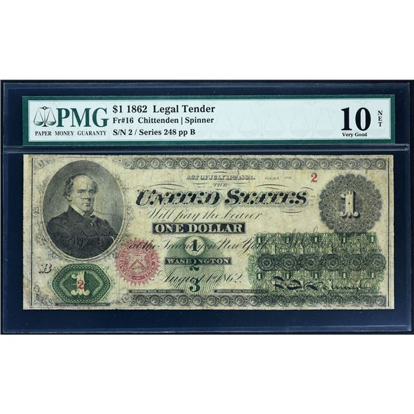Low Serial Number 2                Fr. 16  $1  1869  Legal Tender  PMG Very Good 10 Net