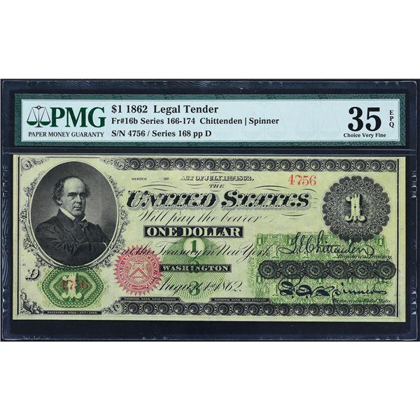Fr. 16b  $1  1862  Legal Tender  PMG Choice Very Fine 35 EPQ