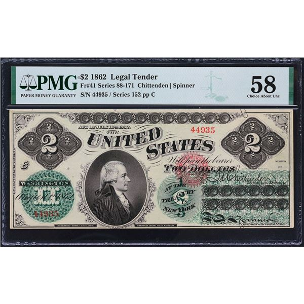 Fr. 41  $2  1862  Legal Tender  PMG Choice About Unc  58