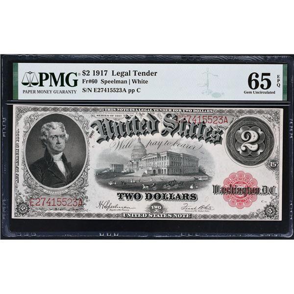 Fr. 60  $2  1917  Legal Tender  PMG Gem Uncirculated 65 EPQ