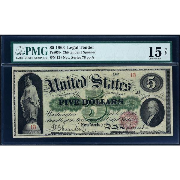 Fr. 63b  $5  1863  Legal Tender  PMG Fine 15 Net