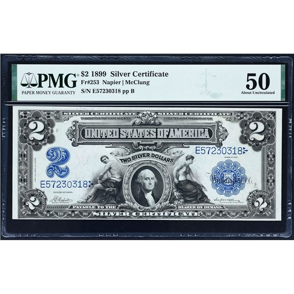 Fr. 253  $2  1899  Silver Certificate  PMG About Uncirculated 50