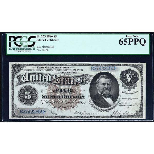 STUNNING MORGAN DOLLAR BACK NOTE                                        Fr. 263  $5  1886  Silver Ce