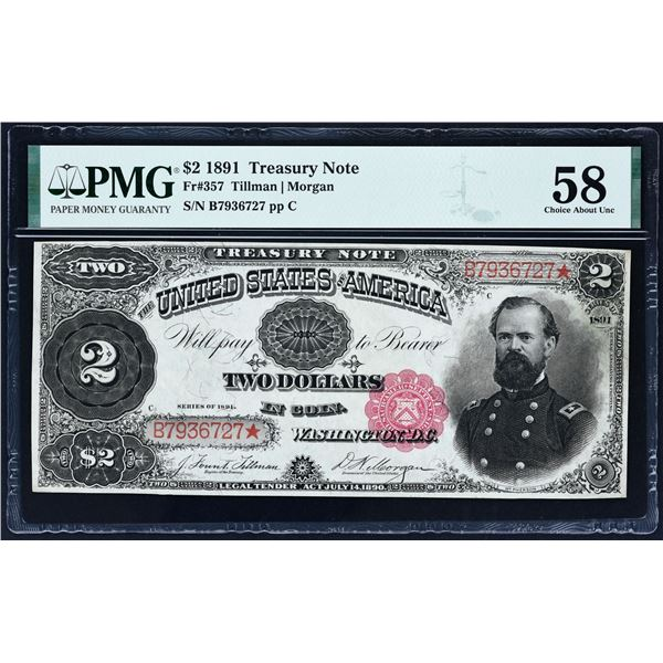 Fr. 357  $2  1891  Treasury Note  PMG About Uncirculated 58