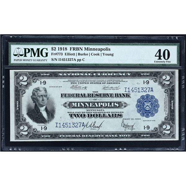 Fr. 773  $2  1918  FRBN Minneapolis  PMG Extremely Fine 40