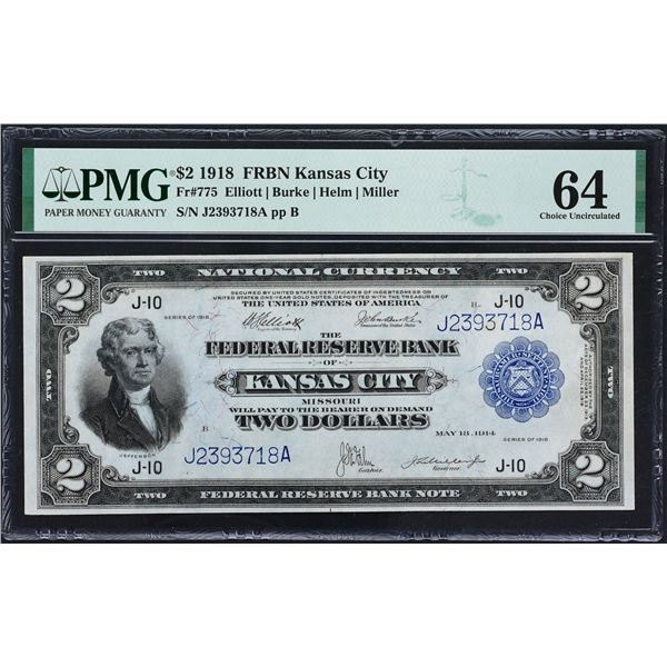 Fr. 775  $2  1918  Federal Reserve Bank Note  PMG Choice Uncirculated 64
