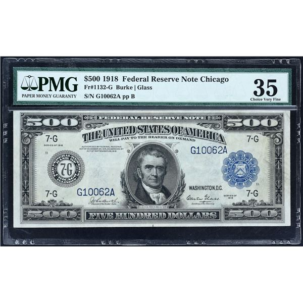 Fr. 1132-G  $500  1918  Federal Reserve Note Chicago  PMG Choice Very Fine 35