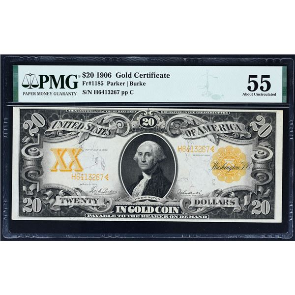 Fr. 1185  $20  1906  Gold Certificate  PMG About Uncirculated 55