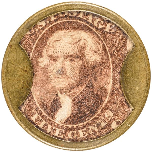 HB-170, EP-84, S-123, Reed LT05. Encased Postage Stamp, Five Cents, Lord & Taylor, New York, with Or
